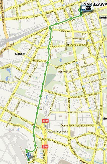 Карта маршрута ночного автобуса N32