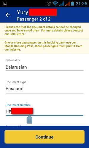 Заполнение данных на рейс Ryanair с телефона