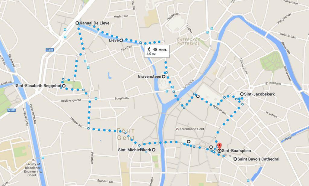 Карта маршрута по Генту