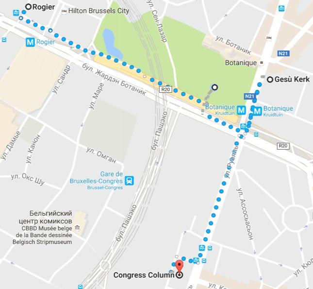 Карта Брюссель. Ботанический сад и Колонна Конгресса