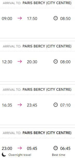 Расписание автобусов Ouibus Амстердам-Париж