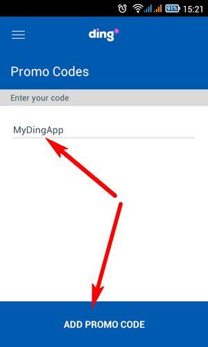 Ввод промо-кода в приложении Ding